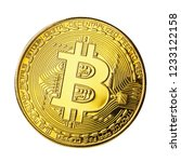 one bitcoin isolated on white... | Shutterstock . vector #1233122158