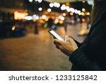 close up woman's hands using... | Shutterstock . vector #1233125842