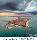 aerial view of pomorie city... | Shutterstock . vector #1233144052