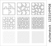 large set of white puzzles... | Shutterstock . vector #1233149908
