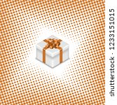 gift box with ribbon and bow on ... | Shutterstock . vector #1233151015