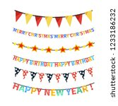 set of bright colorful bunting... | Shutterstock . vector #1233186232