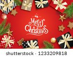 merry christmas greeting card... | Shutterstock .eps vector #1233209818