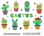 set of isolated funny cactus in ... | Shutterstock .eps vector #1233224785