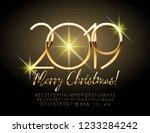 vector merry christmas 2019... | Shutterstock .eps vector #1233284242