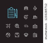 logistics icons set. cargo and...