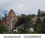 stony tower and housing estate... | Shutterstock . vector #1233289642