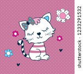cute cat with flowers vector... | Shutterstock .eps vector #1233291532