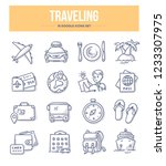 traveling and tourism doodle... | Shutterstock .eps vector #1233307975