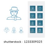 person icon set and witch with...