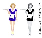 flat moving waitress icons... | Shutterstock .eps vector #1233329152