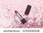 red lipstick and holographic... | Shutterstock . vector #1233330238