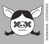 emoji with brunette pig woman... | Shutterstock .eps vector #1233334522