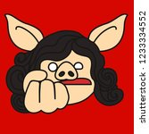 emoji with furious   angry pig... | Shutterstock .eps vector #1233334552