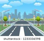 empty city road. sidewalk ... | Shutterstock .eps vector #1233336598