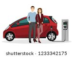 man and woman charges an... | Shutterstock .eps vector #1233342175