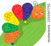 funny colorful caterpillar.... | Shutterstock .eps vector #1233347752