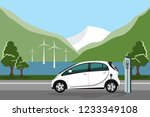 electric car with charging... | Shutterstock .eps vector #1233349108