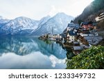 classic view of hallstatt...   Shutterstock . vector #1233349732