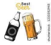 bottle of beer. glass with beer.... | Shutterstock .eps vector #1233352945