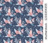 flowers seamless pattern... | Shutterstock . vector #1233354355