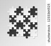 puzzle pieces. white and black... | Shutterstock .eps vector #1233364525