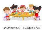 happy children's activity in... | Shutterstock .eps vector #1233364738