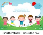 kids jumping on the playground  ... | Shutterstock .eps vector #1233364762