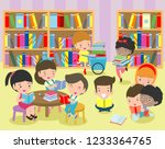 happy kids reading book in a... | Shutterstock .eps vector #1233364765
