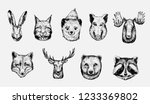Stock vector sketch of forest animals hare lynx marten boar moose wolf deer fox bear racoon 1233369802