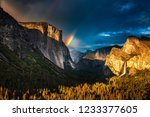 Double rainbow over El Capitan seen from the Tunnel View oveerlook in California