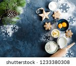 christmas new year food...   Shutterstock . vector #1233380308