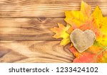 Autumn Leaves With Burlap Heart ...