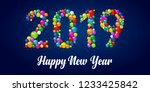 happy new year 2019. colorful... | Shutterstock .eps vector #1233425842