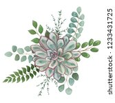 bouquet with leaves and flowers ... | Shutterstock .eps vector #1233431725