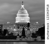 Stock photo washington dc us capitol building in a cloudy day black and white 123343918