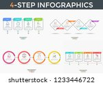 bundle of 4 stepped infographic ... | Shutterstock .eps vector #1233446722