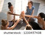 above top view happy diverse... | Shutterstock . vector #1233457438