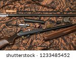 disassembled shotgun parts and... | Shutterstock . vector #1233485452