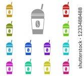 coffee cup icon in multi color. ...