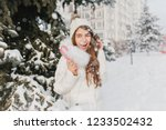 surprised long haired female... | Shutterstock . vector #1233502432
