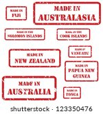 Set of red rubber stamps of Made In symbols for Australasia region, including Australia, New Zealand, Fiji, Cook Islands, Solomon Islands, Vanuatu, Tonga, Papua New Guinea - stock vector