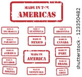 Set of red rubber stamps of Made In symbols for North, Central and South America, including America, Canada, Mexico, Chile, Peru, Bolivia, Ecuador, Brazil - stock vector