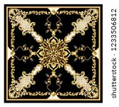 design scarf with golden... | Shutterstock .eps vector #1233506812