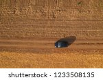 Aerial View Of Black Car On...