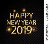 happy new year 2019 golden... | Shutterstock .eps vector #1233509365