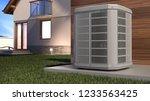 air heat pump and house  3d... | Shutterstock . vector #1233563425