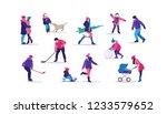 winter time. happy people... | Shutterstock .eps vector #1233579652