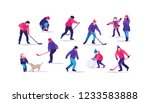 winter time. people on the ice... | Shutterstock .eps vector #1233583888