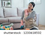 painful woman with shoulder... | Shutterstock . vector #1233618532
